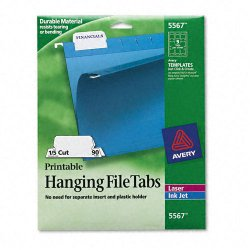 Avery Dennison - 5567 - Print/Write-On Hanging Tabs, 1/5 Tab, 2 1/16, White, 90/Pack