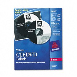Avery Dennison - 5697 - Laser CD Labels, Matte White, 250/Pack