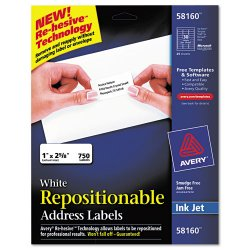 Avery Dennison - 58160 - Repositionable Address Labels, Inkjet/Laser, 1 x 2 5/8, White, 750/Box