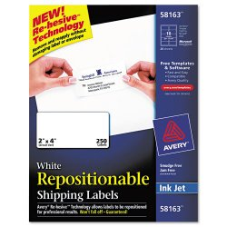 Avery Dennison - 58163 - Repositionable Address Labels, Inkjet/Laser, 2 x 4, White, 250/Box
