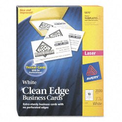 Avery Dennison - 5870 - Clean Edge Business Card Value Pack, Laser, 2 x 3 1/2, White, 2000/Box