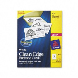 Avery Dennison - 5871 - Clean Edge Business Cards, Laser, 2 x 3 1/2, White, 200/Pack