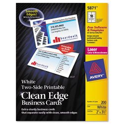 Avery Dennison - 5874 - Clean Edge Business Cards, Laser, 2 x 3 1/2, White, 1000/Box