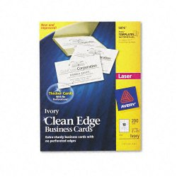 Avery Dennison - 5876 - Clean Edge Business Cards, Laser, 2 x 3 1/2, Ivory, 200/Pack