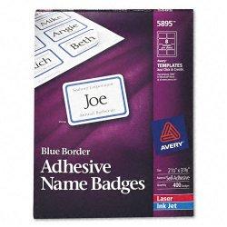 Avery Dennison - 5895 - Flexible Self-Adhesive Laser/Inkjet Name Badge Labels, 2 1/3 x 3 3/8, BE, 400/BX