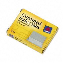 Avery Dennison - 59106 - Gummed Index Tabs, 1 x 13/16, Gray, 50/Pack