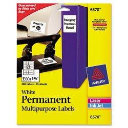 Avery Dennison - 6570 - Permanent ID Labels, Inkjet/Laser, 1 1/4 x 1 3/4, White, 480/Pack