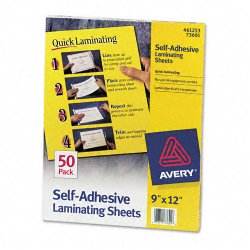 Avery Dennison - 73601 - Clear Self-Adhesive Laminating Sheets, 3 mil, 9 x 12, 50/Box
