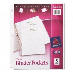 Avery Dennison - 75243 - Binder Pockets, Clear, 9 1/4 x 11, 5 PK