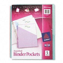 Avery Dennison - 75254 - Binder Pockets, Blue; Clear; Green; Pink; Yellow, 9 1/4 x 11, 5 PK