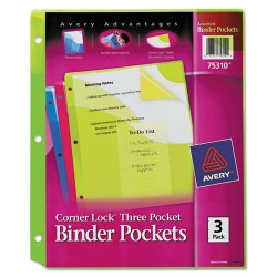 Avery Dennison - 7771175310 - Corner Lock Three-Pocket Binder Pocket, 11 1/4 x 9 1/4, Assorted Color, 3/Pack