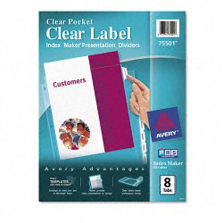 Avery Dennison - 75501 - Index Maker Print & Apply Clear Label Sheet Protector Dividers, 8-Tab, Letter