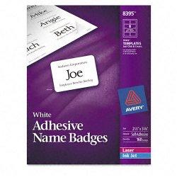 Avery Dennison - 8395 - Flexible Self-Adhesive Laser/Inkjet Name Badge Labels, 2 1/3 x 3 3/8, WE, 160/PK