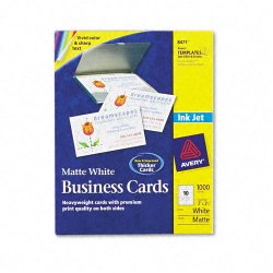 Avery Dennison - 8471 - Printable Microperf Business Cards, Inkjet, 2 x 3 1/2, White, Matte, 1000/Box