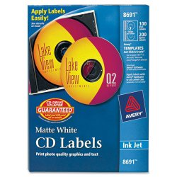 Avery Dennison - 8691 - Inkjet CD Labels, Matte White, 100/Pack