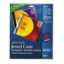 Avery Dennison - 8693 - Inkjet CD/DVD Jewel Case Inserts, Matte White, 20/Pack