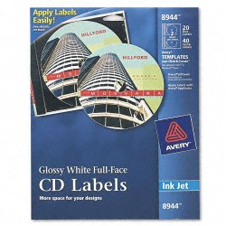 Avery Dennison - 8944 - Inkjet Full-Face CD Labels, Glossy White, 20/Pack