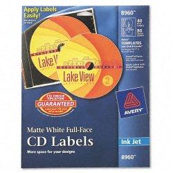 Avery Dennison - 8960 - Inkjet Full-Face CD Labels, Matte White, 40/Pack
