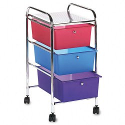 Advantus - 34081 - Portable Three-Drawer Organizer, 15-1/2 x 13 x 27, Gray/Multi-Colored Drawers