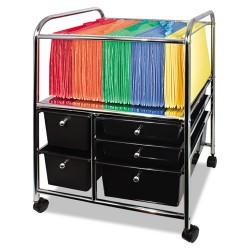 Advantus - 34100 - Advantus 5-Drawer Storage File Cart - 5 Drawer - 4 Casters - 21.9 Length x 15.3 Width x 28.9 Height - Chrome Frame - Silver, Chrome, Black