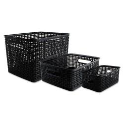 Advantus - 40329 - Advantus Plastic Weave Bins - Desktop - Black - Plastic - 3 / Each