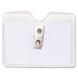 Advantus - 75412 - Advantus Horizontal Security Badge Holder With Clip - Vinyl - 50 / Box
