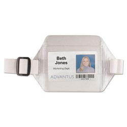 Advantus - 75418 - Advantus Arm Badge Holder - Horizontal - Vinyl - 12 / Box - White, Clear