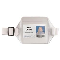 Advantus - 75418 - Advantus Arm Badge Holder - Horizontal - Vinyl - 12 / Box - White, Clear