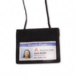 Advantus - 75452 - Advantus Horizontal ID/Convention Neck Pouch - Horizontal - Nylon - 12 / Pack - Black
