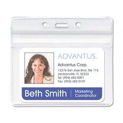 Advantus - 75523 - Advantus Horizontal Resealable Badge Holder - 3.8 x 2.6 - Vinyl - 50 / Pack - Clear