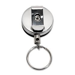 Advantus - 75545 - Advantus Heavy-Duty Steel Chain Retracting ID Reel - Steel - 6 / Pack - Silver, Black