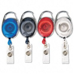 Advantus - 75552 - Advantus Retractable Carabiner-Style ID Reel - Extendable - 20 / Pack - Clear, Blue, Smoke, Red