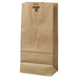 Duro Bag - 18410 - #10 Paper Grocery Bag, 35lb Kraft, Standard 6 5/16 x 4 3/16 x 13 3/8, 500 bags
