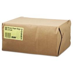 Duro Bag - 18412 - #12 Paper Grocery Bag, 40lb Kraft, Standard 7 1/16 x 4 1/2 x 13 3/4, 500 bags
