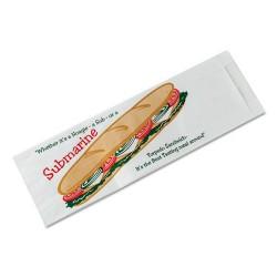 Bagcraft Papercon - BGC 300435 - Submarine Sandwich Bags, 4 1/2 x 2 x 14, White Preprinted Submarine, 1000/Carton