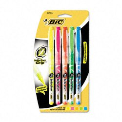 BIC Pens - B4P51-AST - BIC Z4 Brite Liner Liquid Highlighter - Chisel Marker Point Style - Assorted, Yellow, Orange, Green, Blue Ink - 5 / Set