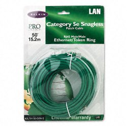 Belkin / Linksys - A3L791-50-GRN-S - Belkin Cat5e Patch Cable - RJ-45 Male Network - RJ-45 Male Network - 50ft - Green