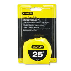 Stanley Bostitch - 680-30-455 - Power Return Tape Measure, Plastic Case, 1 x 25ft, Yellow