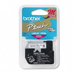 "Brother International - M231 - Brother P-touch Nonlaminated M Srs Tape Cartridge - 0.50"" Width x 26.20 ft Length - Direct Thermal - White - 1 Each"