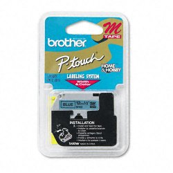 "Brother International - M531 - Brother P-touch Nonlaminated M Srs Tape Cartridge - 0.50"" Width x 26.20 ft Length - Blue, Black - 1 Each"