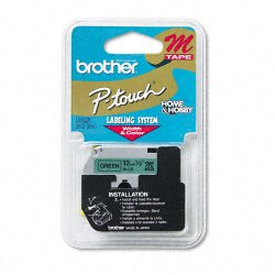 "Brother International - M-731 - Brother P-touch Nonlaminated M Srs Tape Cartridge - 0.50"" Width x 26.20 ft Length - Rectangle - Direct Thermal - Green - 1 Each"