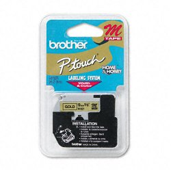 "Brother International - M821 - Brother M Series Non-Laminated Tape for P-touch Printer - 0.35"" Width x 26.20 ft Length - Black, Gold - 1 Each"