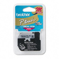"Brother International - M921 - Brother M Series Non-Laminated Tape for P-touch Printer - 0.37"" Width x 26.20 ft Length - Black, Silver - 1 Each"