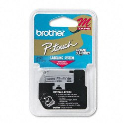 "Brother International - M931 - Brother M Series Non-Laminated Tape for P-touch Printer - 0.50"" Width x 26.20 ft Length - Direct Thermal - Black, Silver - 1 Each"