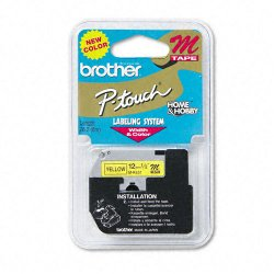 "Brother International - MK631 - Brother M Series Non-Laminated Tape for P-touch Printer - 0.50"" Width x 26.20 ft Length - Direct Thermal - Black, Yellow - 1 Each"