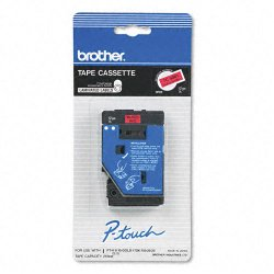 "Brother International - TC5001 - Brother P-touch 12mm Laminated Tape - 0.50"" Width x 25 ft Length - Direct Thermal - Red - 1 Each"