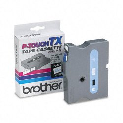 "Brother International - TX2331 - Brother P-Touch TX Laminated Tape - 0.50"" Width x 50 ft Length - Black - 1 Each"