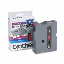"Brother International - TX4511 - Brother TX Series Laminated Tape Cartridge - 1"" Width x 50 ft Length - Black - 1 Each"
