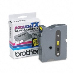 Brother International - TX6511 - Brother TX Series Laminated Tape Cartridge - 1 Width x 50 ft Length - Direct Thermal - Yellow - 1 Each