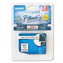"Brother International - TZ-221 - Brother P-Touch TZ Laminated Tape - 0.35"" Width x 26.20 ft Length - White - 1 Each"